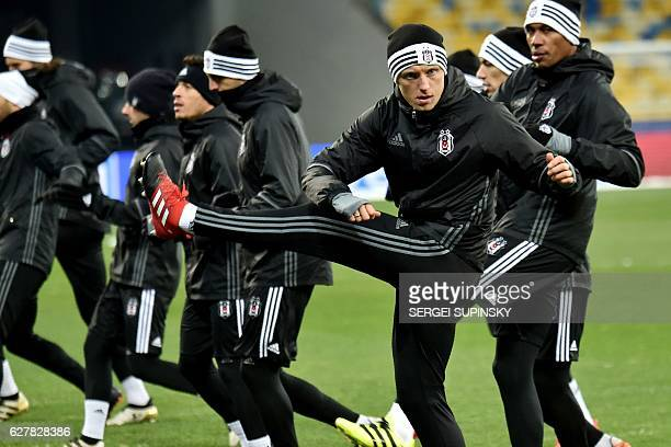 Besiktas' German defender Andreas Beck takes part in a training session with teammates at the Olympiyski Stadium in Kiev on December 5 2016 on the...