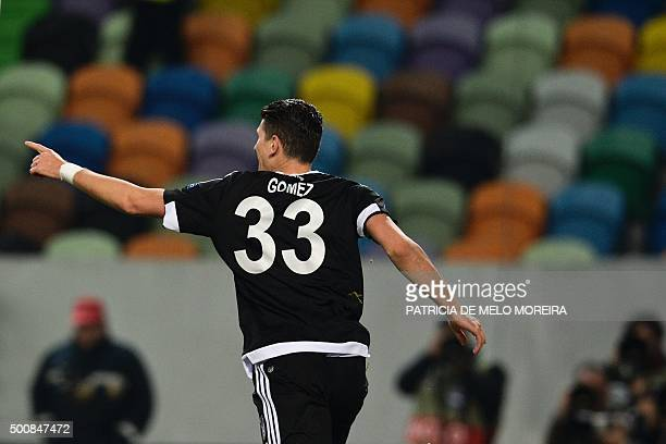 Besiktas' German forward Mario Gomez celebrates after scoring against Sporting CP during the UEFA Europa League football match Sporting Club de...