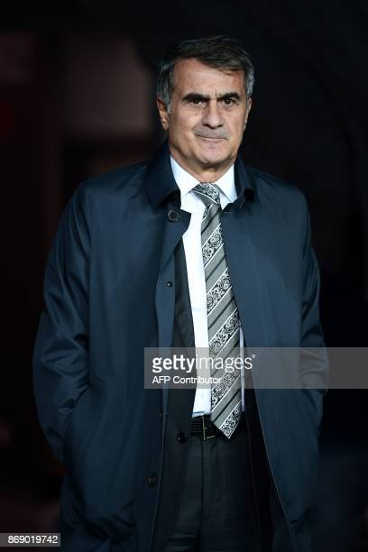 Besiktas' head coach Senol Gunes looks on prior to the UEFA Champions League Group G football match between Besiktas and Monaco on November 1 at the...