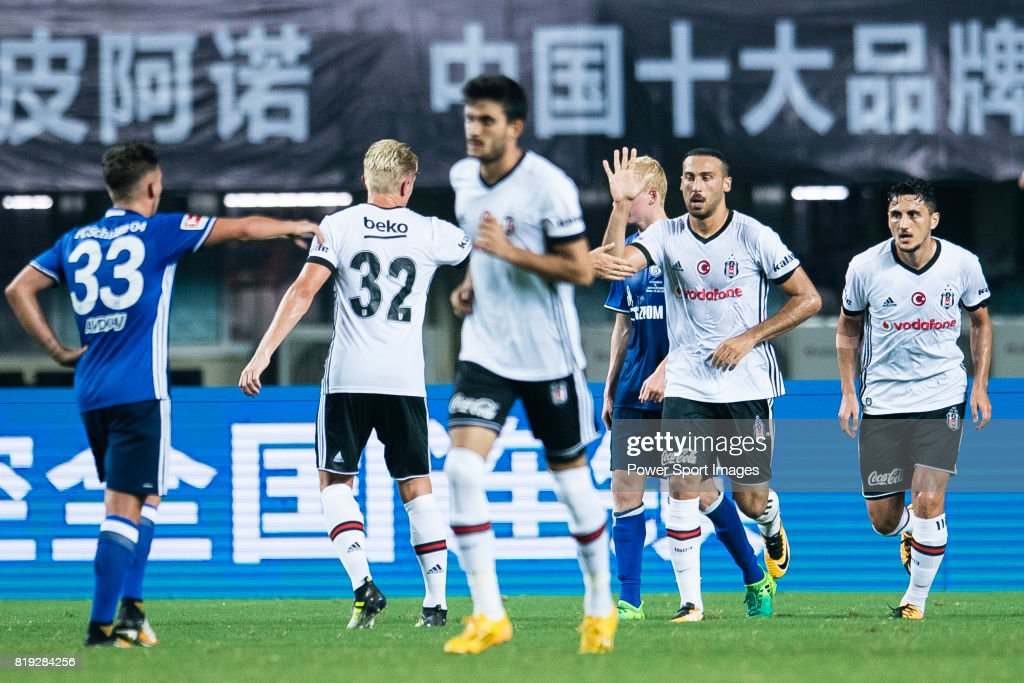 Besiktas Istambul Forward Cenk Tosun (R) celebrates his goal with his teammates during the Friendly Football Matches Summer 2017 between FC Schalke 04 and Besiktas Istanbul at Zhuhai Sport Center Stadium on July 19, 2017 in Zhuhai, China.