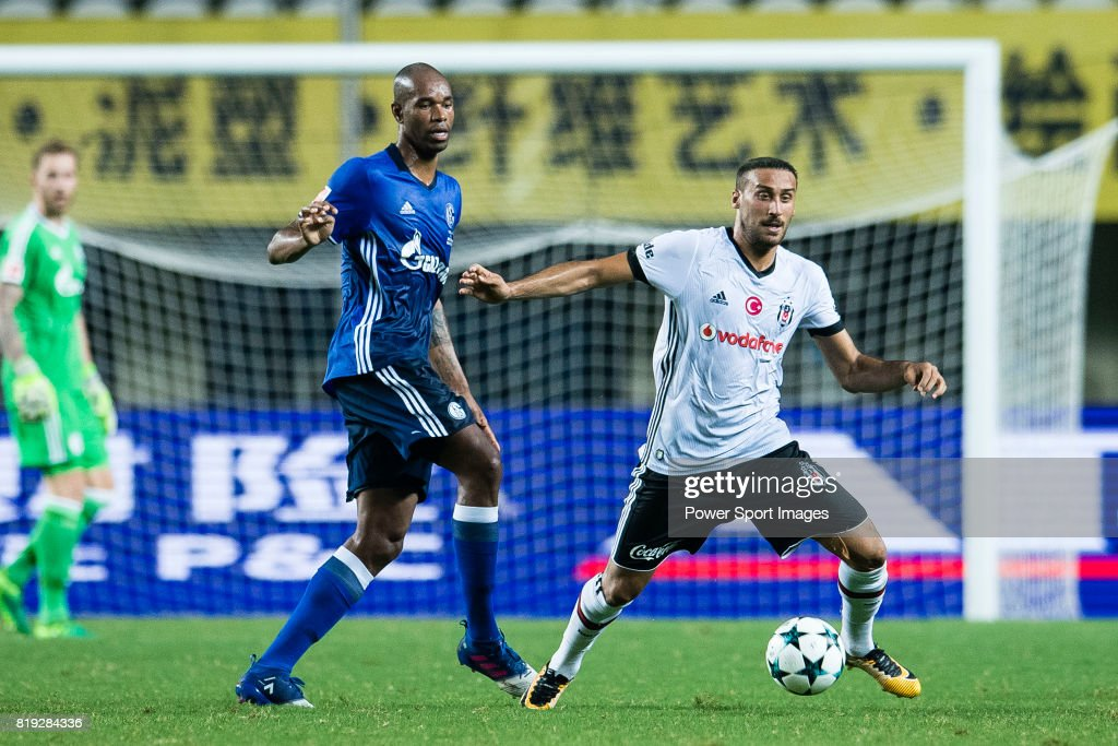 Besiktas Istambul Forward Cenk Tosun (R) fights for the ball with FC Schalke Defender Naldo (L) during the Friendly Football Matches Summer 2017 between FC Schalke 04 and Besiktas Istanbul at Zhuhai Sport Center Stadium on July 19, 2017 in Zhuhai, China.