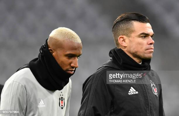 Besiktas Istanbul's Portuguese defender Pepe and Brazilian midfielder Talisca attend a training session on February 19 2018 in Munich southern...