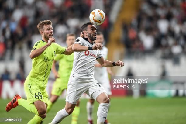 Besiktas' Jeremain Lens celebrates with teammates after scoring a goal during the UEFA European League Group I football match between Besiktas and...