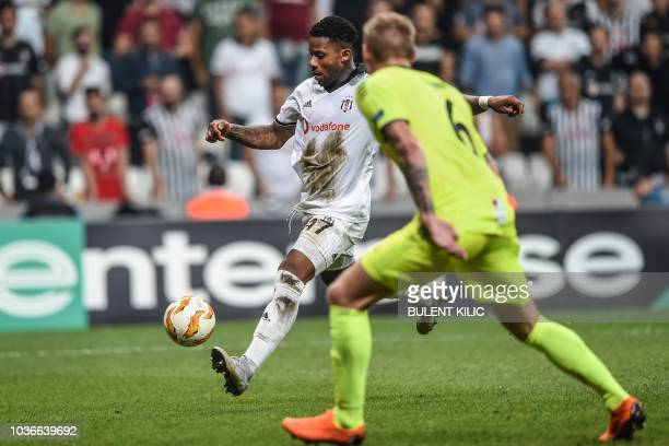 Besiktas' Jeremain Lens shoots and scores a goal during the UEFA European League Group I football match between Besiktas and Sarpsborg at Besiktas...