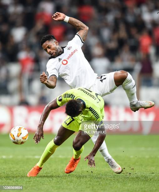 Besiktas' Jeremain Lens vies for the ball with Sarpsborg's Rashad Muhammed during the UEFA European League Group I football match between Besiktas...