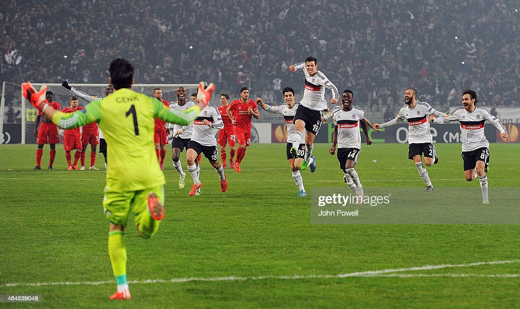 Besiktas JK celebrate after winning the UEFA Europa League Round of 32 match between Besiktas JK and Liverpool FC on February 26, 2015 in Istanbul, Turkey.