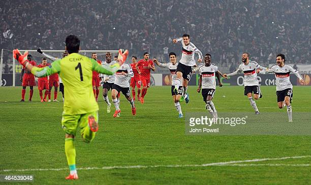Besiktas JK celebrate after winning the UEFA Europa League Round of 32 match between Besiktas JK and Liverpool FC on February 26 2015 in Istanbul...