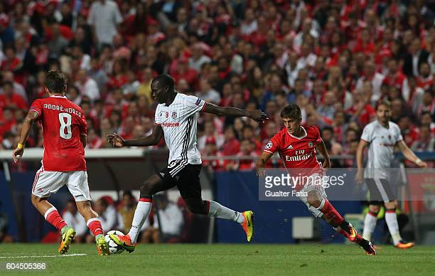 Besiktas JKÕs forward Vincent Aboubakar with SL BenficaÕs forward from Argentina Franco Cervi in action during the UEFA Champions League match...