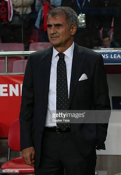 Besiktas JKÕs head coach Senol Gunes before the start of the UEFA Champions League match between SL Benfica and Besiktas JK at Estadio da Luz on...