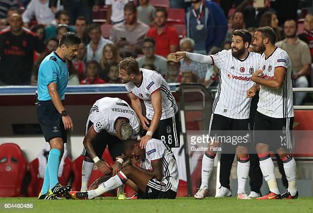 Besiktas JK's midfielder Talisca cries after scoring a goal during the UEFA Champions League match between SL Benfica and Besiktas JK at Estadio da...