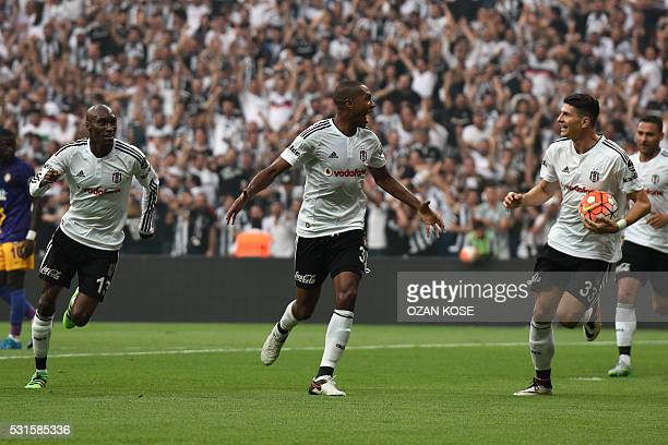 Besiktas' Marcello celebrates with his teammates after scoring a goal against Osmanli during the Turkish Spor Toto Super league football match...