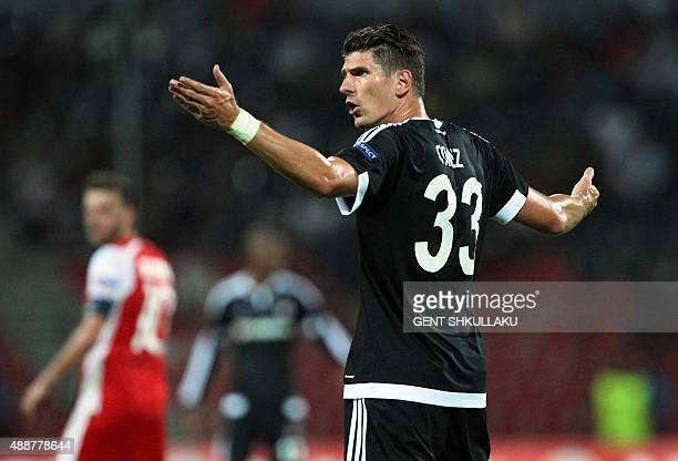 Besiktas' Mario Gomez reacts during the UEFA Europa League Group H football match between KF Skenderbeu and Besiktas JK at the Elbansan Arena in...