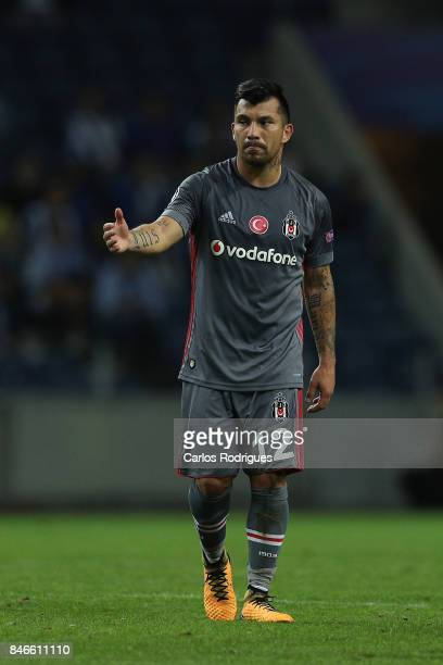 Besiktas midfielder Gary Medel celebrates scoring Besiktas third goal during the match between FC Porto v Besiktas JK for the UEFA Champions League...