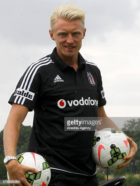 Besiktas' new transfer Andreas Beck attends the training session of their club in Marienfeld, Germany on July 8, 2015. Besiktas came to Germany for...