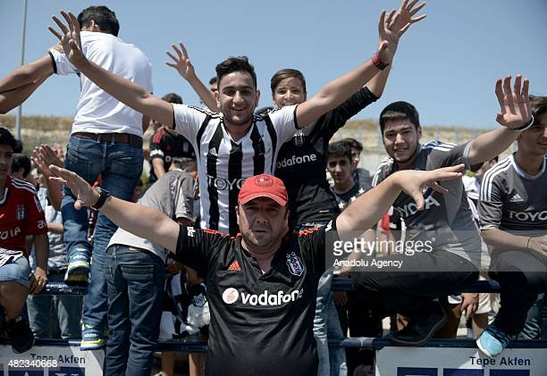 Besiktas' new transfer German Mario Gomez is welcomed by his fans as he arrives to Ataturk Airport in Istanbul Turkey on July 30 2015