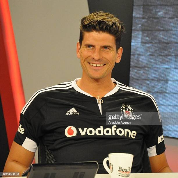 Besiktas' new transfer German Mario Gomez speaks on BJK TV in Istanbul Turkey on July 30 2015