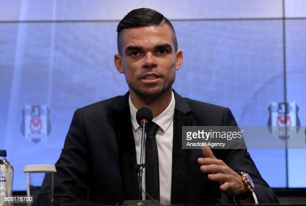 Besiktas' new transfer Pepe attends a ceremony signing with Besiktas soccer club at Vodafone Park in Istanbul Turkey on July 05 2017 Pepe reportedly...