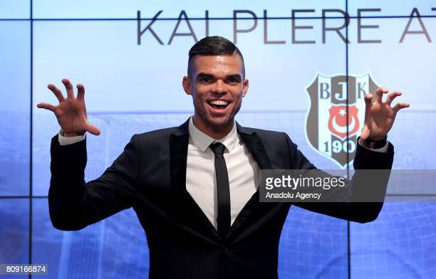 Besiktas' new transfer Pepe poses for a photo during a ceremony signing with Besiktas at Vodafone Park in Istanbul Turkey on July 05 2017 Pepe...