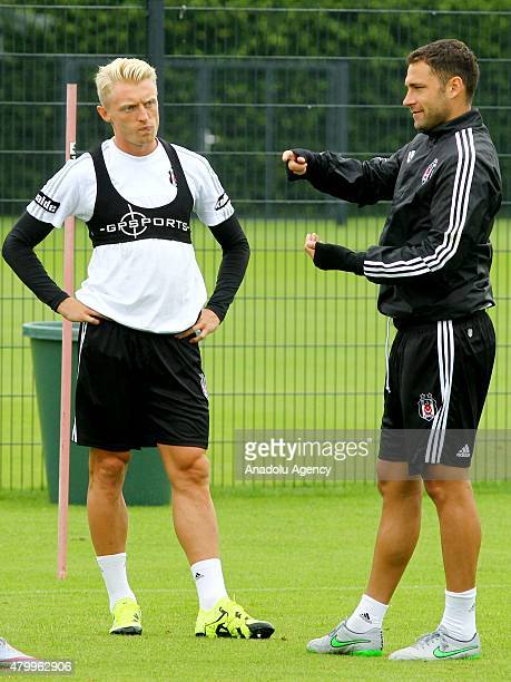 Besiktas' new transfers Andreas Beck and Dusko Tosic are seen during a training session during their camp in Mairenfeld village in Harsewinkel city,...