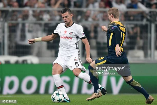 Besiktas` Pepe fights for the ball with Leipzig's Timo Werner during the UEFA Champions League group G football match between Besiktas and RB Leipzig...
