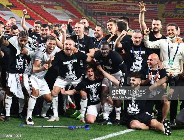 Besiktas players celebrate at the end of the Turkish Super Lig, week 42 match between Goztepe and Besiktas at Gursel Aksel Stadium in Izmir, Turkey...