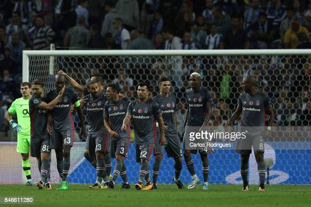 Besiktas players celebrates Besiktas third goal scored by Besiktas midfielder Gary Medel during the match between FC Porto v Besiktas JK for the UEFA...