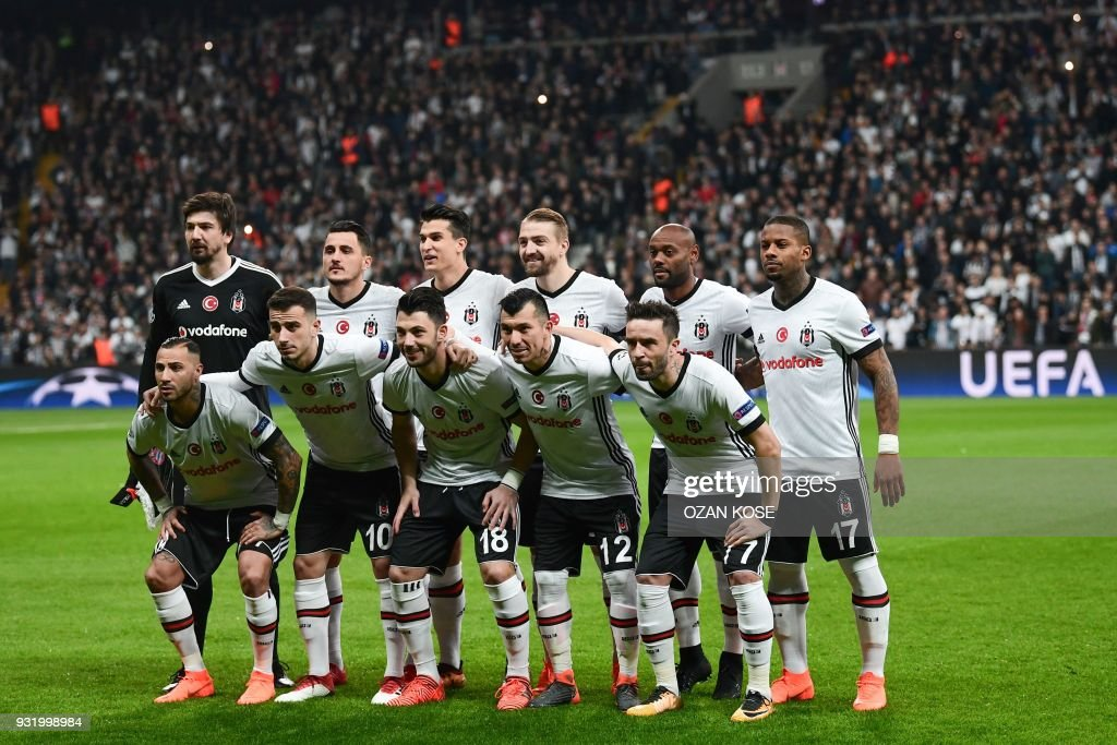 Besiktas players (Front, From L) Portuguese midfielder Ricardo Quaresma, midfielder Oguzhan Ozyakup, midfielder Tolgay Arslan, defenders Gary Medel and Gokhan Gonul, and (Rear, From L) goalkeeper and captain Tolga Zengin, forward Mustafa Pektemek, defender Necip Uysal, defender Caner Erkin, Brazilian forward Vagner Love and Dutch forward Jeremain Lens pose for a team photo prior to the second leg of the last 16 UEFA Champions League football match between Besiktas and Bayern Munich at Besiktas Park in Istanbul on March 14, 2018. /