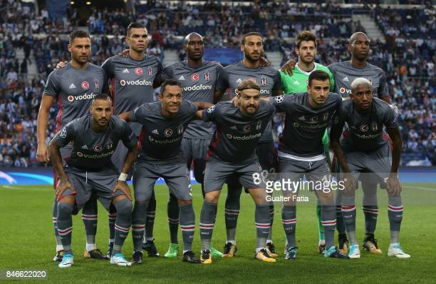 Besiktas players pose for a team photo before the start of the UEFA Champions League match between FC Porto and Besiktas JK at Estadio do Dragao on...