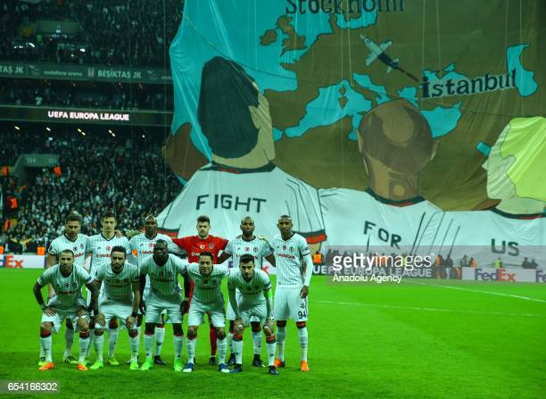 Besiktas players pose for a team photo before the UEFA Europa League Round 16 secondleg match between Besiktas and Olympiacos at Vodafone Arena in...