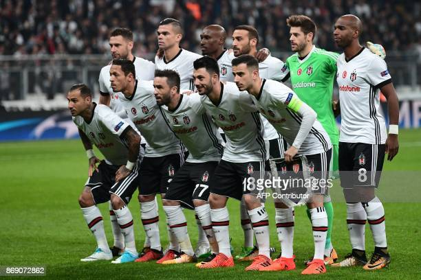 Besiktas' players pose prior to the UEFA Champions League Group G football match between Besiktas and Monaco on November 1 at the Vodafone Park in...