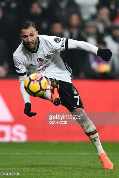 Besiktas' Portoguese midfielder Ricardo Queresma kicks ball to score during Turkish Spor Toto Super leagua fotball match between Besiktas and...