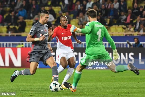 Besiktas' Portuguese defender Pepe and Besiktas' Spanish goalkeeper Fabricio Agosto Ramirez defend against France's defender Djbril Sidibe during the...