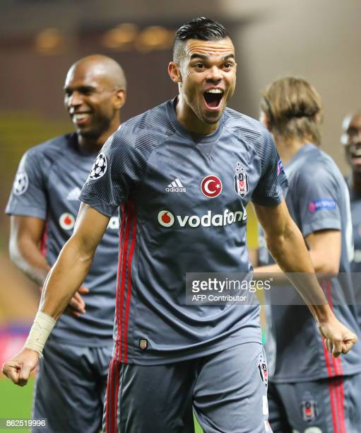 Besiktas' Portuguese defender Pepe celebrates after his team's second goal during the UEFA Champions League group stage football match between Monaco...