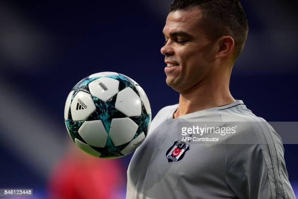 Besiktas' Portuguese defender Pepe controls the ball during a training session on the eve of the UEFA Champions League Group G football match FC...