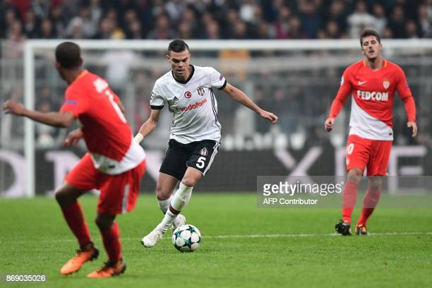 Besiktas' Portuguese defender Pepe controls the ball during the UEFA Champions League Group G football match between Besiktas and Monaco on November...