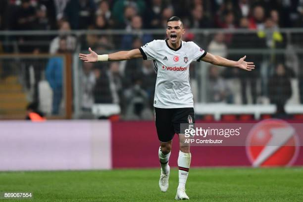 Besiktas' Portuguese defender Pepe reacts during the UEFA Champions League Group G football match between Besiktas and Monaco on November 1 at the...