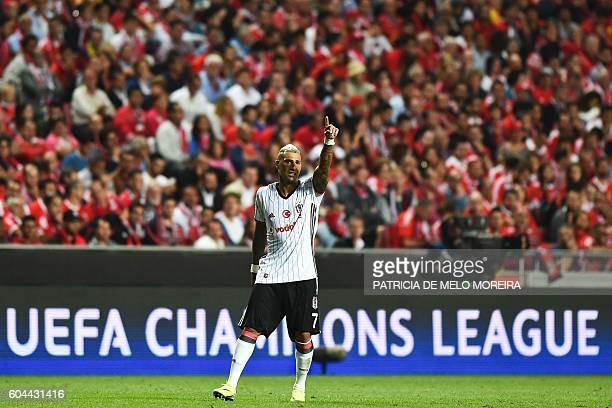 Besiktas' Portuguese forward Ricardo Quaresma gestures during the UEFA Champions League football match SL Benfica vs Besiktas JK at the Luz stadium...
