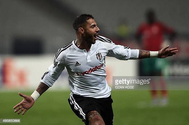 Besiktas' Portuguese midfielder Ricardo Quaresma celebrates after scoring a goal during the UEFA Europa League group H football match between...