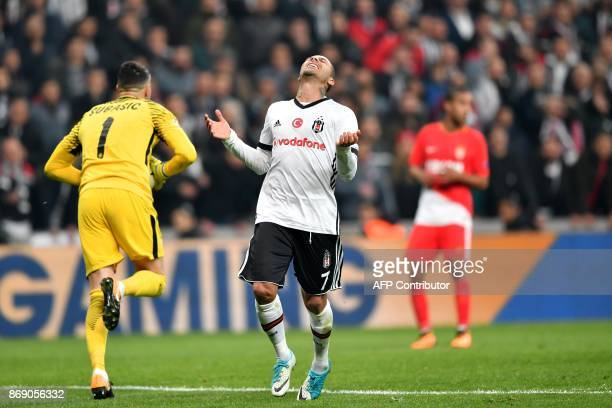 Besiktas' Portuguese midfielder Ricardo Quaresma reacts after missing a goal opportunity during the UEFA Champions League Group G football match...