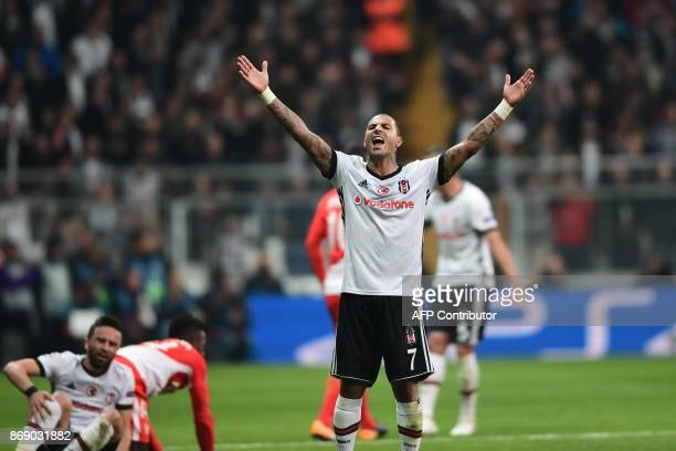 Besiktas' Portuguese midfielder Ricardo Quaresma reacts during the UEFA Champions League Group G football match between Besiktas and Monaco on...
