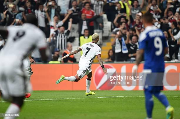 Besiktas' Ricardo Quaresma celebrates after scoring during the UEFA Champions League football match Besiktas versus Dynamo Kiev at the Vodafone Arena...