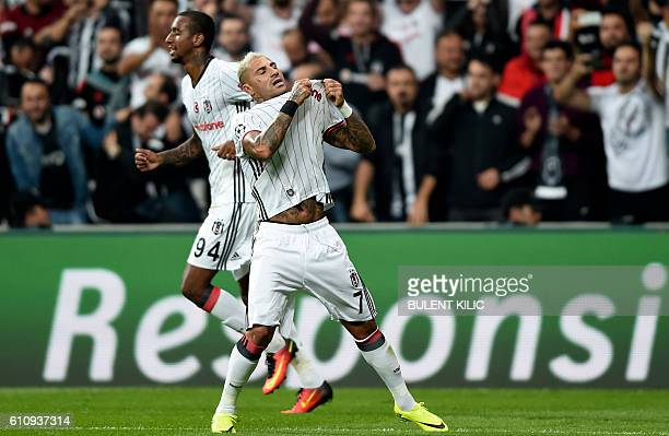 Besiktas' Ricardo Quaresma celebrates after scoring during the UEFA Champions League football match Besiktas versus Dynamo Kiev at the Vodafone Arena...