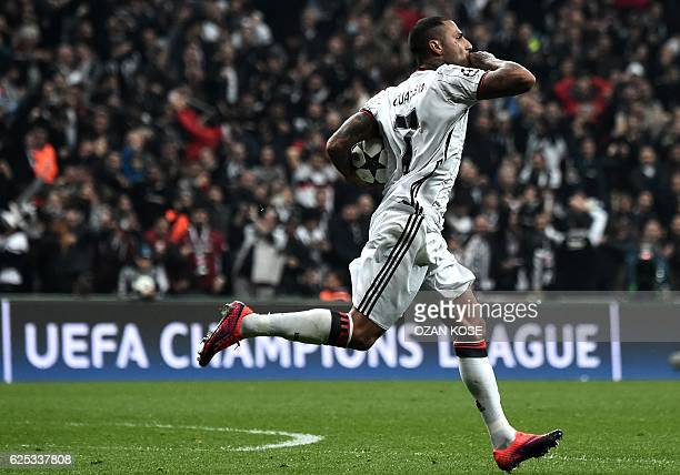 Besiktas' Ricardo Quaresma celebrates with teammates after scoring a goal during the UEFA Champions League Group B football match between Besiktas...