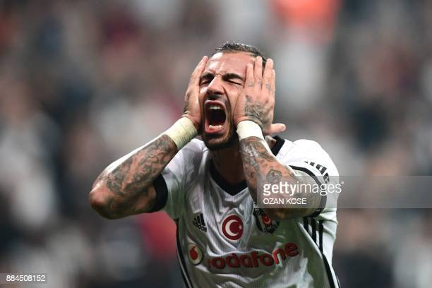 Besiktas' Ricardo Quaresma reacts after missing a goal during the Turkish Super Lig football match between Besiktas and Galatasaray on December 2...