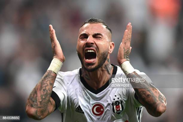 Besiktas' Ricardo Quaresma reacts after missing a goal during the Turkish Super Lig football match between Besiktas and Galatasaray on December 2,...