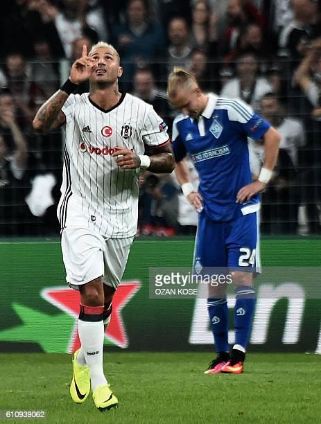 Besiktas` Ricardo Quaresma reacts after scoring a goal during the UEFA Champions League football match Besiktas versus Dynamo Kiev at the Vodafone...
