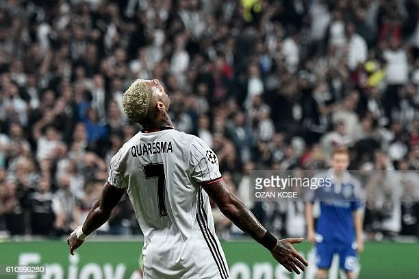 Besiktas' Ricardo Quaresma reacts during the UEFA Champions League group B football match between Besiktas and Dynamo Kiev at Vodafone Arena in...
