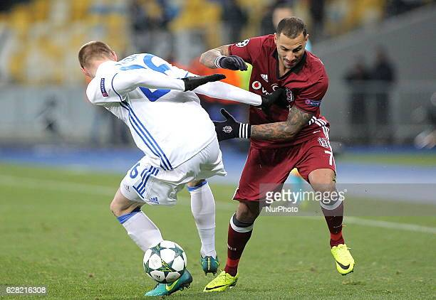 Besiktas' Ricardo Quaresma right and Dynamo Kiev's Mykyta Burda left fight for the ball during a the Champions League Group B soccer match between...