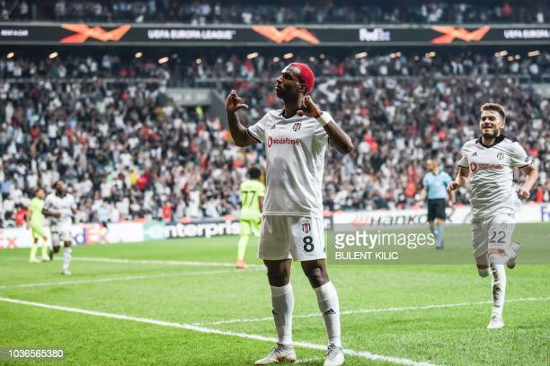 Besiktas' Ryan Babel celebrates after scoring a goal during the UEFA European League Group I football match between Besiktas and Sarpsborg at...