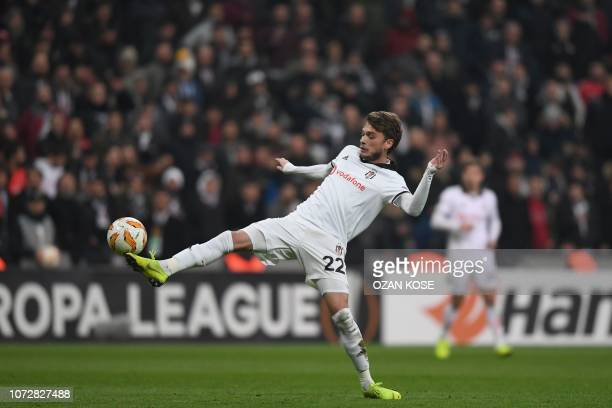 Besiktas' Serbian midfielder Adem Ljajic tries to control the ball during the UEFA Europe league group I football match between Besiktas and Malmo on...